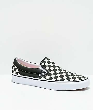 Vans Slip-On Forest Night & True White Checkerboard Skate Shoes