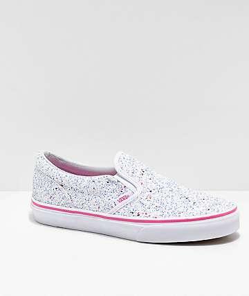 189239837c6f Vans Slip-On Glitter Stars White Skate Shoes
