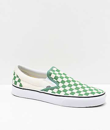 2cc8bf7e6258c9 Vans Slip-On Green   White Checkerboard Skate Shoes