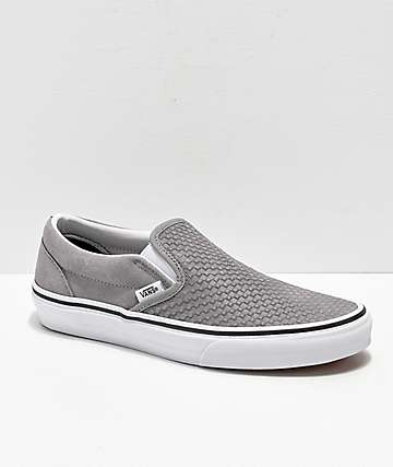 bab1a7e612 Vans Slip-On Grey   White Embossed Suede Skate Shoes