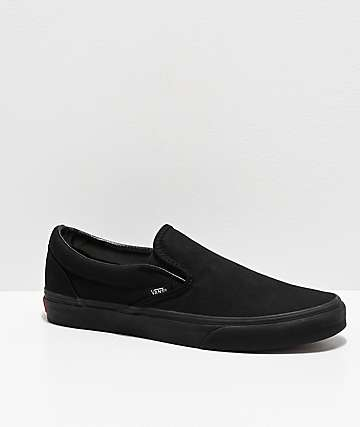 a55a7bd3777 Vans Slip-On Monochromatic Black Skate Shoes