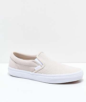 Vans Slip-On Moonbeam & White Embossed Skate Shoes