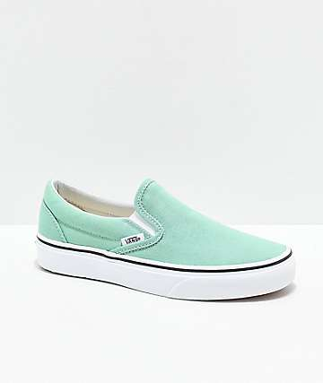 d58188ce927 Vans Slip-On Neptune Green   White Skate Shoes