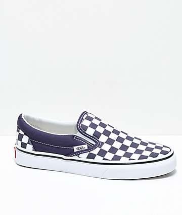 Vans Slip-On Nightshade Purple Checkered Skate Shoes
