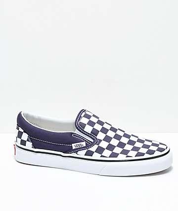 Vans Slip-On Nightshade zapatos de skate a cuadros en morado