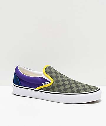Vans Slip-On OTW Rally Green, Purple & Blue Checkerboard Skate Shoes