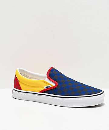 Vans Slip-On OTW Rally Navy, Yellow & Red Checkerboard Skate Shoes