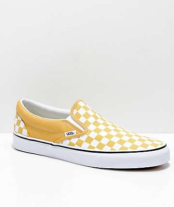 6e7f134675f6 Vans Slip-On Ochre   White Checkerboard Skate Shoes