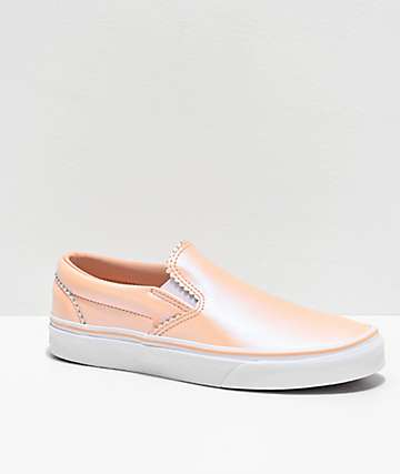 Vans Slip-On Pearl Pink & White Suede Skate Shoes