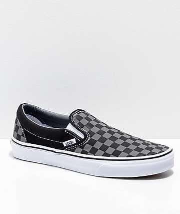 Vans Slip-On Pewter zapatos de skate a cuadros en negro y gris