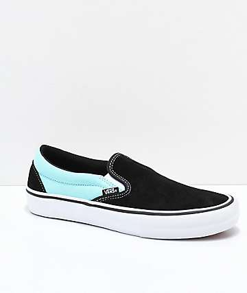 Vans Slip-On Pro Asymmetrical Black, Blue, Red & White Skate Shoes