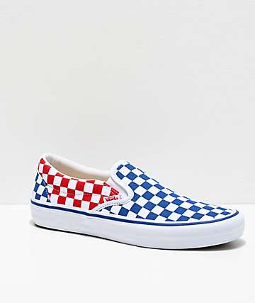 Vans Slip-On Pro Blue, Red & White Checkerboard Skate Shoes