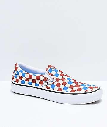 Vans Slip-On Pro Blue, Rust & Off-White Skate Shoes