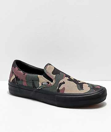 Vans Slip-On Pro Camo, Black & White Skate Shoes