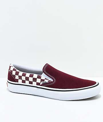 Vans Slip-On Pro Port Royal Red & White Checkered Skate Shoes