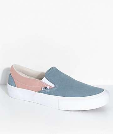 Vans Slip-On Pro zapatos de skate en azul y rosa