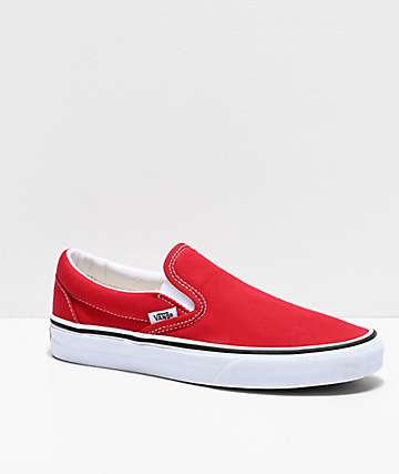 b7e373835163 Vans Slip-On Racing Red & White Skate Shoes