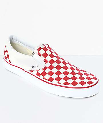 b188db183f47e5 Vans Slip-On Red   White Checkered Skate Shoes