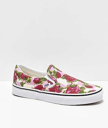 7cd25564d4 Vans Slip-On Romantic Floral Pink   White Skate Shoes