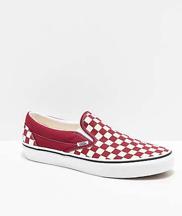 f0b84b8845 Vans Slip-On Rumba Red   White Checkered Skate Shoes