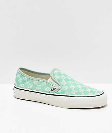 Vans Slip-On SF Neptune Green & White Skate Shoes