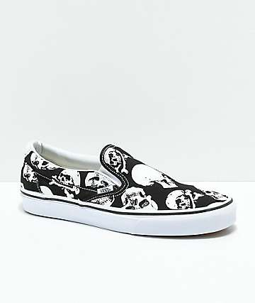f757461ef2 Vans Slip-On Skulls Black   White Skate Shoes
