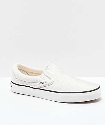 Vans Slip-On Snow White Jersey Knit Skate Shoes