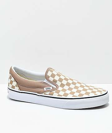 Vans Slip-On Tiger Eye zapatos de skate a cuadros en color caqui y blanco