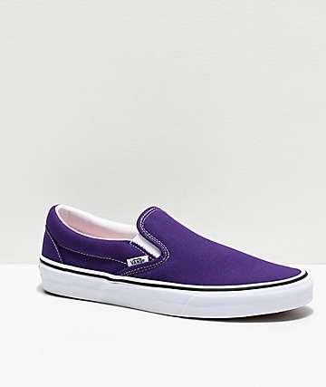 Vans Slip-On Violet Indigo & White Skate Shoes