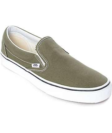 Vans Slip-On Winter Moss Green & White Skate Shoes