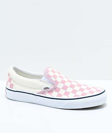 e85aaad4e1 Vans Slip-On Zephyr Pink   White Checkered Skate Shoes