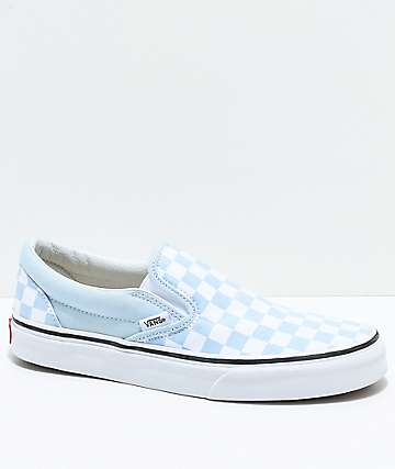 Vans Slip-On zapatos de skate a cuadros en azul claro y blanco