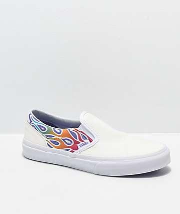 Vans Slip-On zapatos de skate brillantes de llamas arcoíris