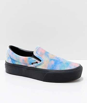 Vans Slip-On zapatos de skate con plataforma de terciopelo negro y efecto tie dye