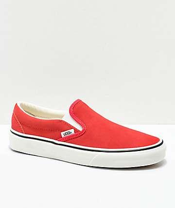Vans Slip-On zapatos de skate de ante rojo