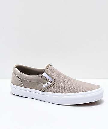 Vans Slip-On zapatos de skate de ante texturizado en gris topo y blanco