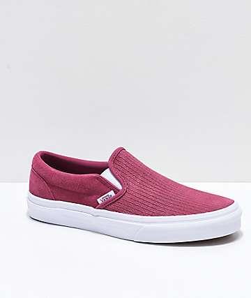 Vans Slip-On zapatos de skate de ante texturizado en rosa y blanco