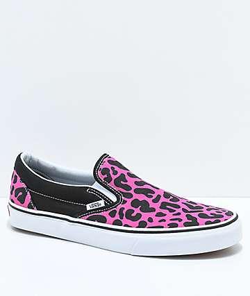 Vans Slip-On zapatos de skate de leopardo rosa y negro