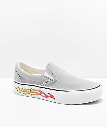 Vans Slip-On zapatos de skate grises con plataforma de llamas