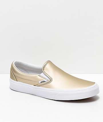 Vans Slip-On zapatos de skate iridiscentes metálicos dorados y blancos