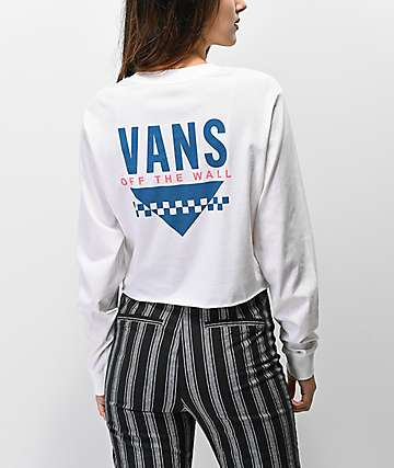 Vans Sound Checker White Crop Long Sleeve T-Shirt