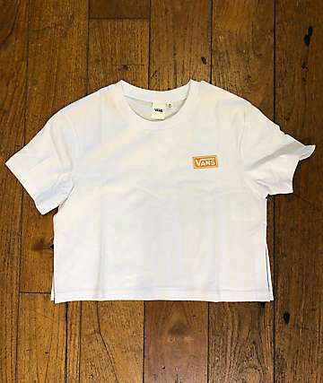 Vans Split Sided White Crop T-Shirt