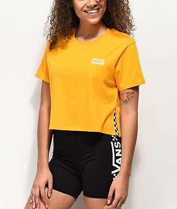 b59551d0d476b Vans Split Sided Yellow Crop T-Shirt