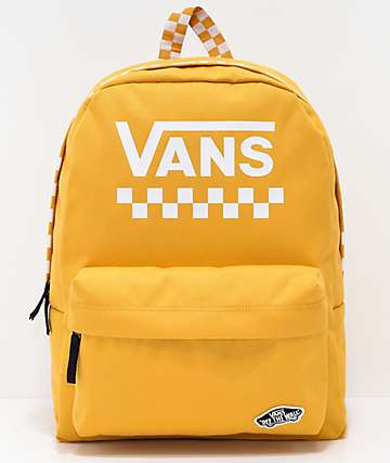 6bebe44cc4 Vans Sporty Realm Yellow Checkerboard Backpack