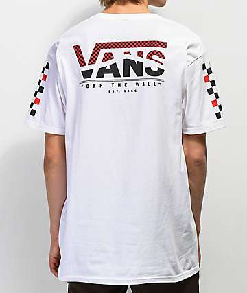 7cfda1375a Vans Striped Logo White T-Shirt
