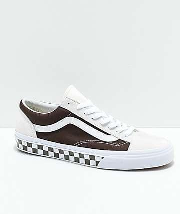 Vans Style 36 BMX zapatos de skate a cuadros en marrón y blanco