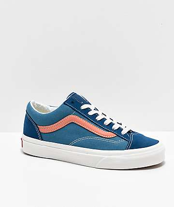 Vans Style 36 Vintage Sport Blue & Peach Skate Shoes