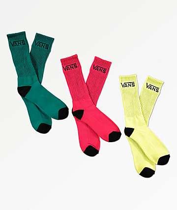 Vans Sunny Lime 3 Pack Crew Socks