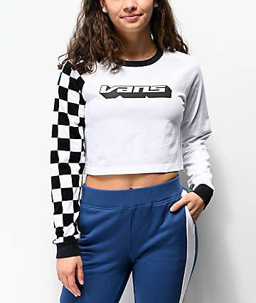 Vans Superspeedee White Crop Long Sleeve T-Shirt