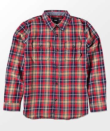 Vans Sycamore camisa de franela en color caqui y rojo para niños
